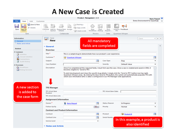 Step 1: A case is created in Dynamics CRM