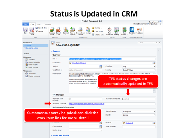 The TFS work item status automatically updates CRM.